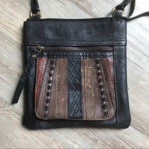 Fossil Brown Embroidered Cross Body Purse